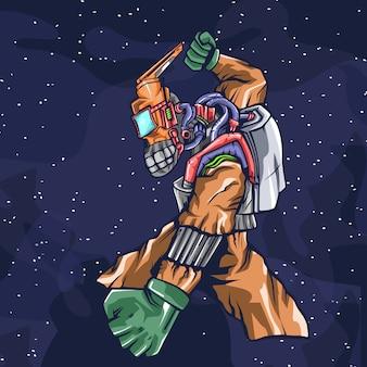 Ilustração de desenhos animados de espaço de robô