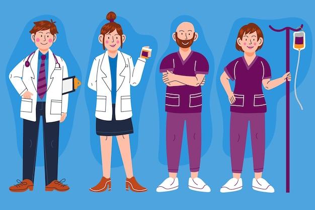 Ilustração de desenhos animados de médicos e enfermeiras