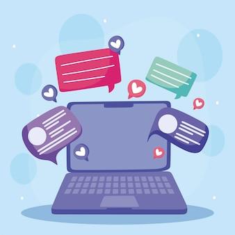 Ilustração de desenhos animados de mídia social de texto e mensagens de bolha de fala em laptop