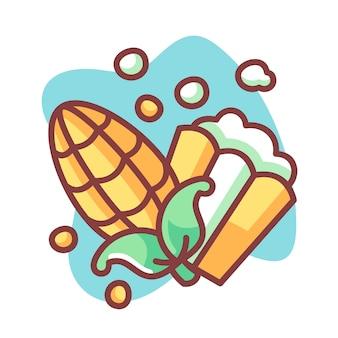 Ilustração de desenhos animados de milho e pipoca