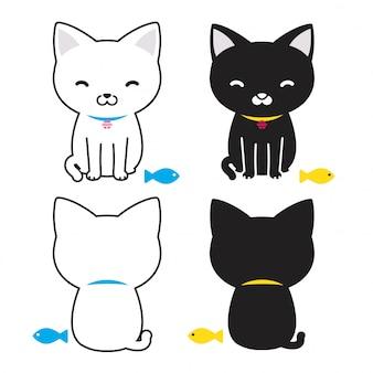 Ilustração de desenhos animados de peixe gato gatinho de vetor