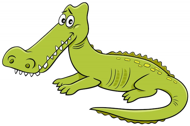 Ilustração de desenhos animados de personagem de animal selvagem de crocodilo
