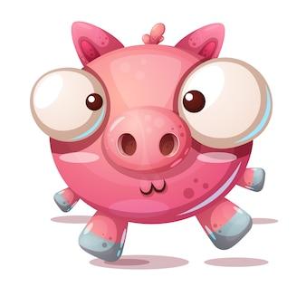 Ilustração de desenhos animados de personagem de porco bonito