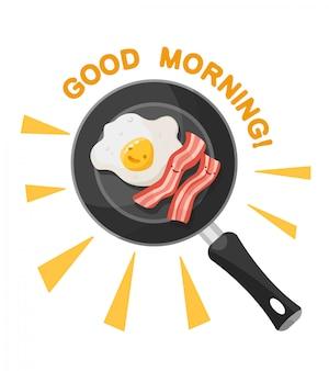 Ilustração de desenhos animados ovos e bacon em uma panela