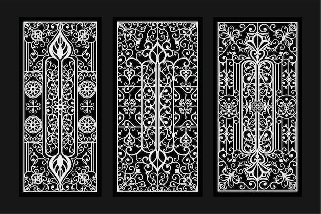 Ilustração de desenhos de ornamentos decorativos verticais