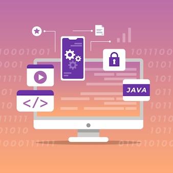 Ilustração de desenvolvimento de aplicativo com desktop