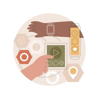 Ilustração de desenvolvimento de aplicativo móvel wearable