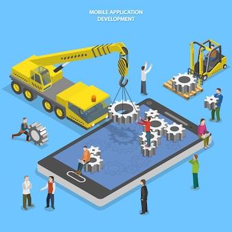 Ilustração de desenvolvimento de aplicativo móvel
