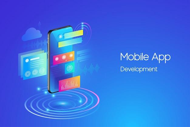 Ilustração de desenvolvimento de aplicativos móveis