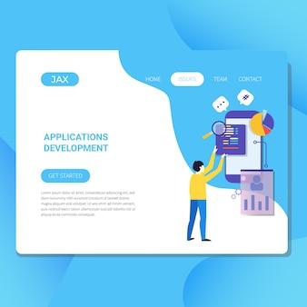 Ilustração de desenvolvimento de aplicativos para o site