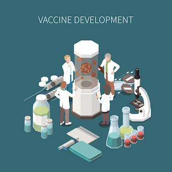 Ilustração de desenvolvimento de vacina com equipamento de laboratório para experimentos científicos ampolas de microscópio com ícones isométricos de seringas médicas de vacina