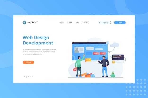 Ilustração de desenvolvimento web design para o conceito de comércio eletrônico na página inicial