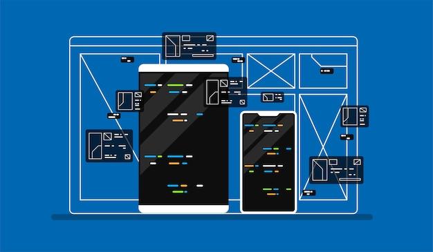 Ilustração de desenvolvimento web.