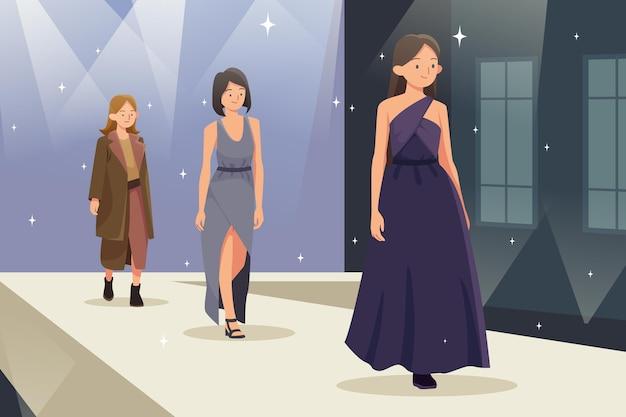 Ilustração de desfile de desfile de moda desenhada à mão plana