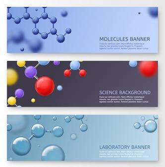 Ilustração de design de banners de moléculas