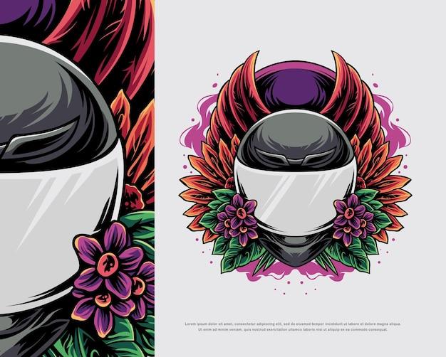 Ilustração de design de capacete de motocicleta
