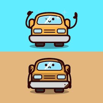 Ilustração de design de carro bonito limpo e sujo, lavagem de carros, manutenção e mascote de carro