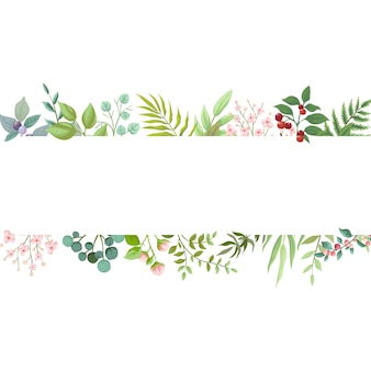 Ilustração de design de cartão floral verde