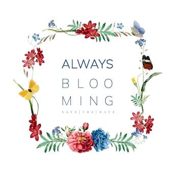 Ilustração de design de cartão moldura floral
