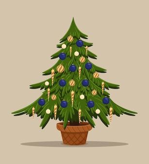 Ilustração de design de cartão postal de ano novo árvore de natal com cone de decoração e bolas isoladas