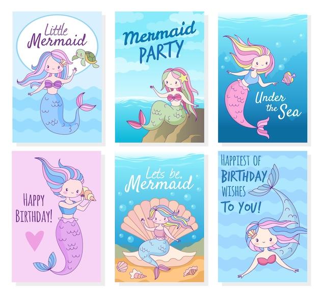 Ilustração de design de cartões de sereia