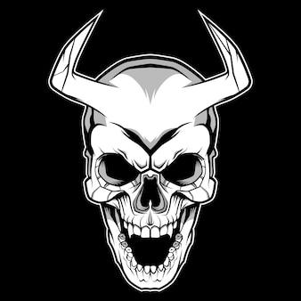 Ilustração de design de caveira de demônio
