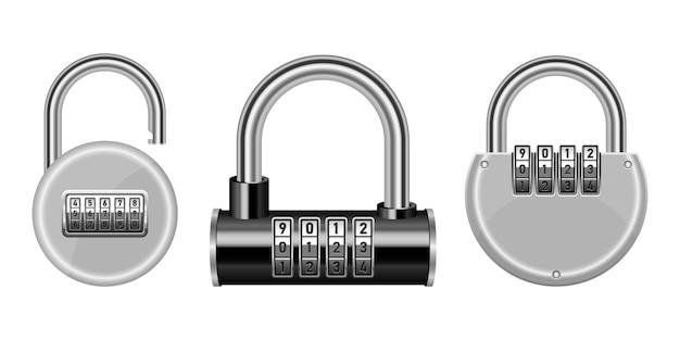 Ilustração de design de combinação de cadeado isolada no fundo branco