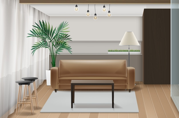Ilustração de design de interiores com móveis em estilo eco-minimalista