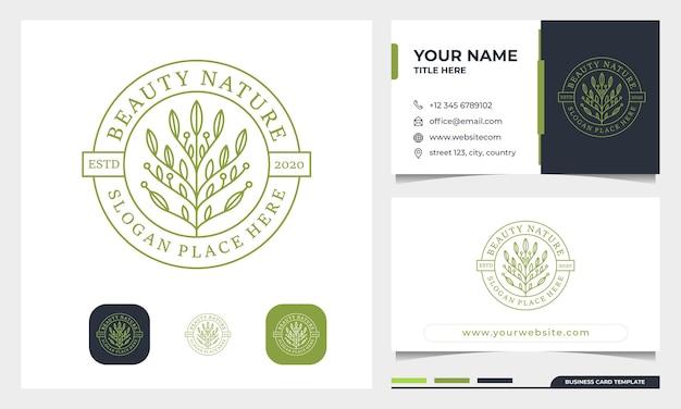 Ilustração de design de logotipo de beleza distintivo e modelo de cartão de visita.