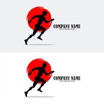 Ilustração de design de logotipo de corrida e maratona