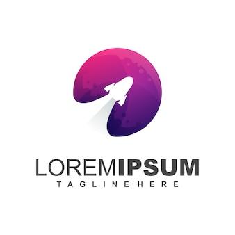 Ilustração de design de logotipo de lançador de foguetes