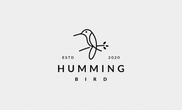 Ilustração de design de logotipo de linha simples de pássaro colibri