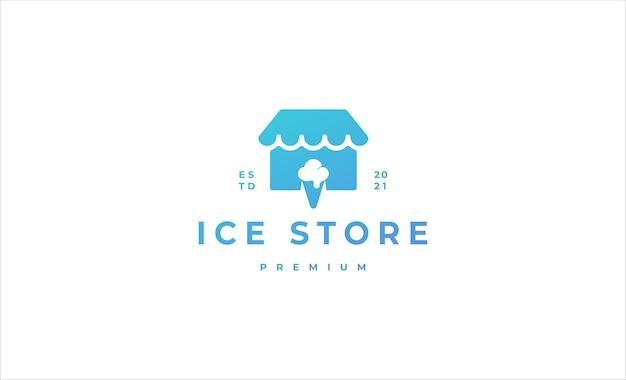 Ilustração de design de logotipo de loja de sorvetes em casa