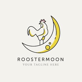 Ilustração de design de logotipo de lua de galo, galo em design de logotipo minimalista de lua