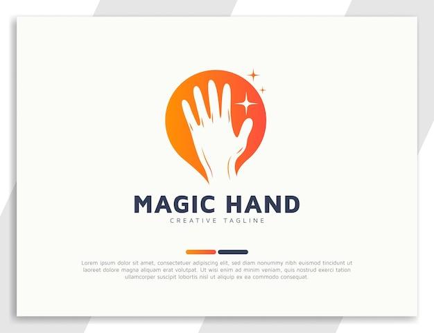 Ilustração de design de logotipo de mão mágica