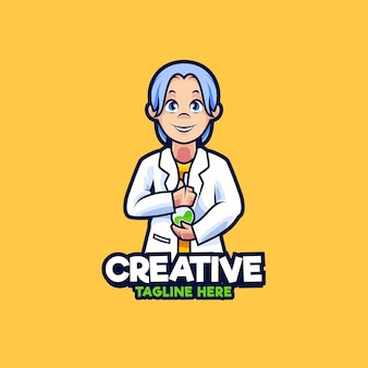 Ilustração de design de logotipo de mascote de cientistas pesquisadores