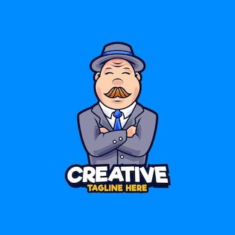 Ilustração de design de logotipo de mascote empresário. homens gordos vestindo terno e ilustração vetorial de chapéu