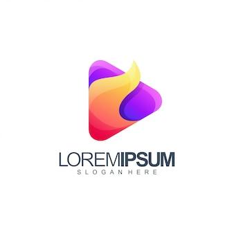 Ilustração de design de logotipo de mídia de fogo