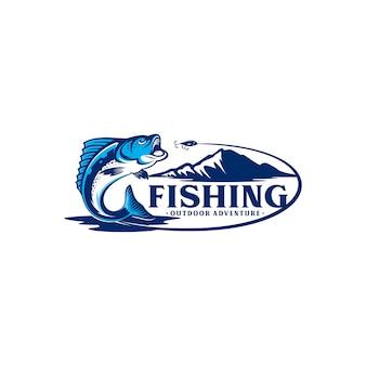 Ilustração de design de logotipo de pesca vintage