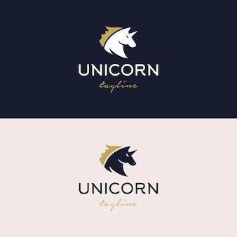 Ilustração de design de logotipo de unicórnio forte