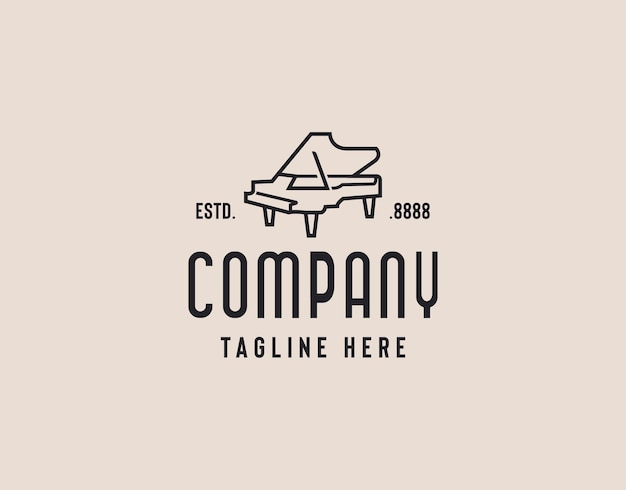 Ilustração de design de logotipo elegante de piano de cauda