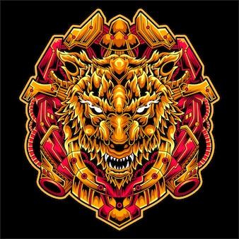 Ilustração de design de mascote incrível de arte mecha lobo