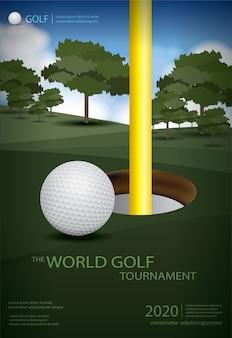 Ilustração de design de modelo de campeão de golfe em pôster