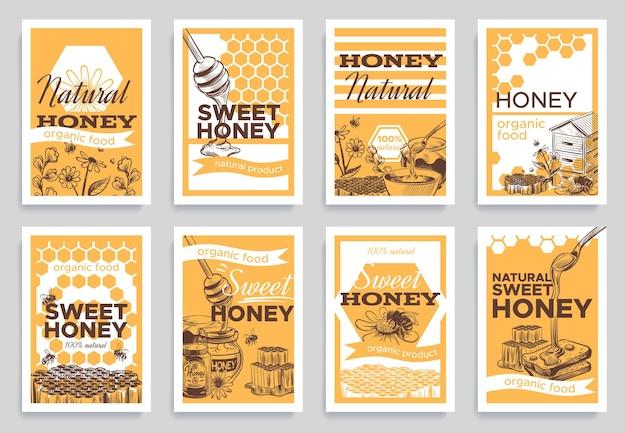 Ilustração de design de panfletos de mel