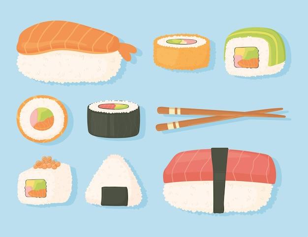 Ilustração de design de sushi fresco tradicional de comida japonesa e pauzinhos