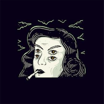 Ilustração de design de vampiro fumar