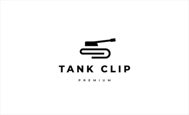Ilustração de design de vetor de logotipo de linha de tanque
