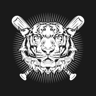 Ilustração de design detalhado de arte de cabeça de tigre e tacos de beisebol