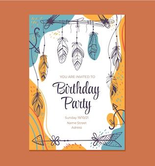 Ilustração de design gráfico do modelo de convite de aniversário estilo boho