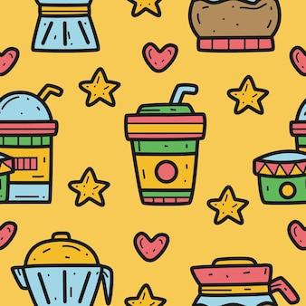 Ilustração de design padrão doodle café desenhado à mão